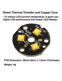 Triple Seoul SZ5 M2 LED Emitter with 20mm x 1.5mm DTP Copper PCB (Parallel) w/ optics