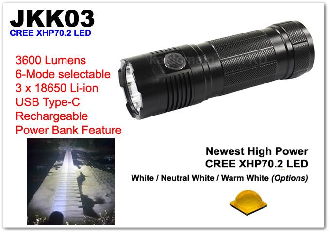 High Power JKK03 CREE XHP70.2 USB Rechargeable Flashlight