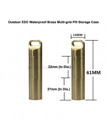 61mm(L) x 14mm(D) Outdoor EDC Waterproof Brass Multi-grid Pill Storage Case Seal Canister