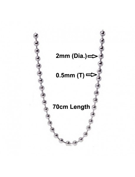 70cm (L) Ball Beads Chain Necklace Connector (2 pcs)
