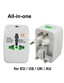 All-in-one Travel Universal Adapter EU/US/UK 10A 110V - 250V - White (1 pc)
