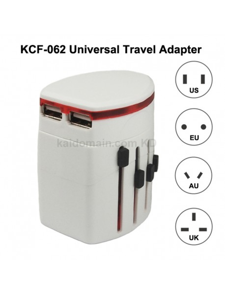 KCF-062 Universal Dual USB Travel AC Power Adapter 6A 110V - 240V - White (1 pc)