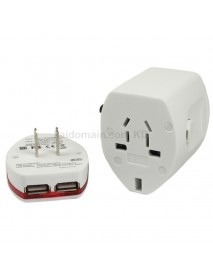 KCF-062 Universal Dual USB Travel AC Power Adapter 6A 110V - 240V - White (1 pc)