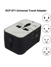 KCF-071 Universal USB Travel AC Power Adapter 6A 110V - 240V - Black (1 pc)