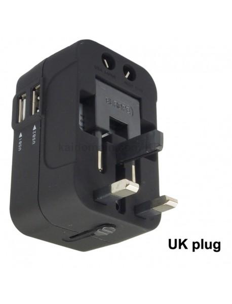 KCF-071 Universal USB Travel AC Power Adapter 6A 110V - 240V - Black (1 pc)