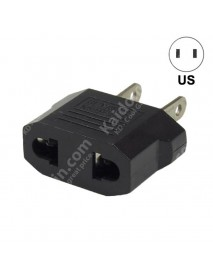 EU to US Power Plug Adapter - Black (2 pcs)
