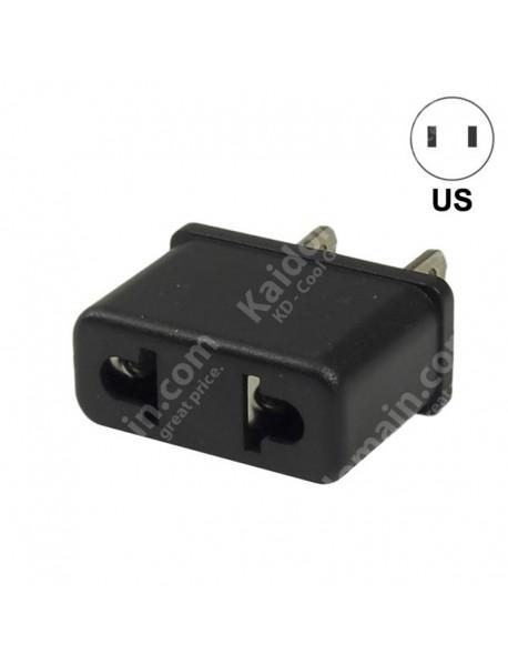 EU to US Power Plug Adapter 6A 125V-250V - Black (2 pcs)