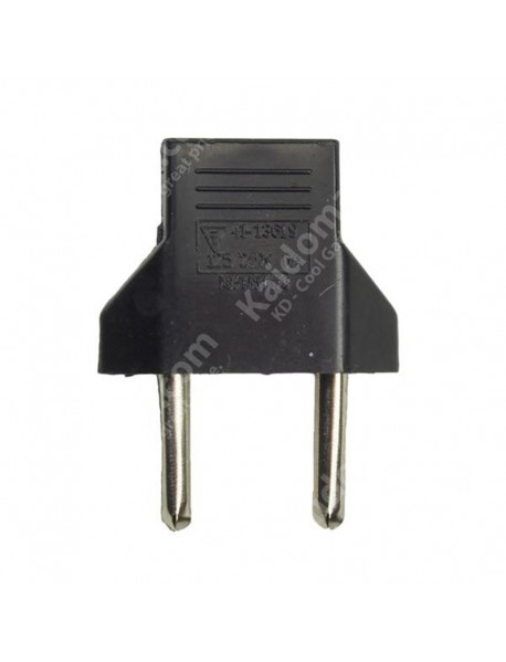 US to EU Power Plug Adapter - Black (2 pcs)