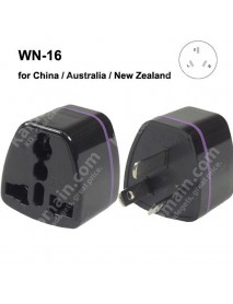 WN-16 Universal CN/AU/NZ Travel AC Power Adapter Plug - Black (1 pc)