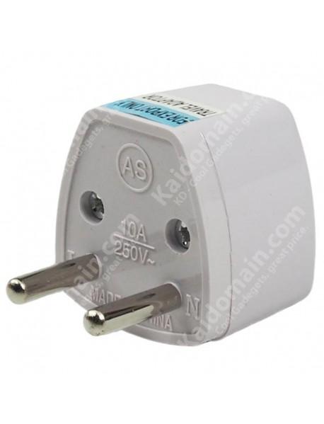 KAS Universal EU(4.8mm Dia.) Travel AC Power Adapter Plug 10A AC 250V - White (1 pc)