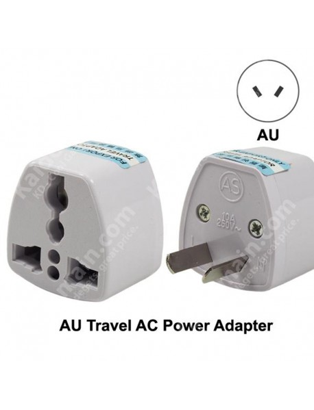 KAS Universal AU Travel AC Power Adapter Plug 10A AC 250V - White (1 pc)