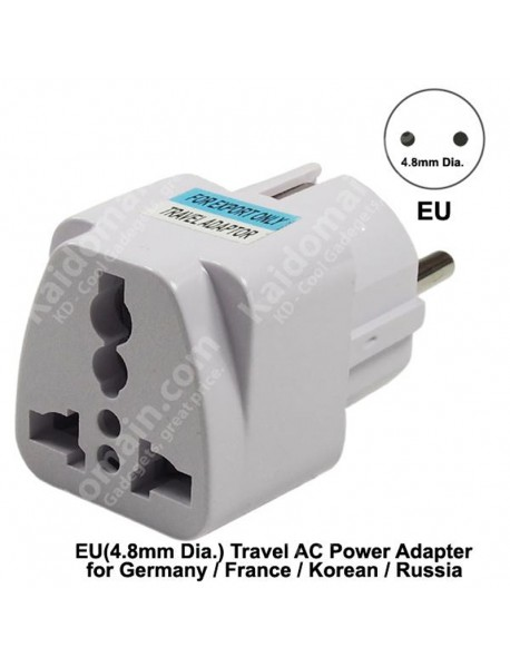 KAS-008 Universal EU(4.8mm Dia.) Travel AC Power Adapter Plug 10A AC 250V - White (1 pc)