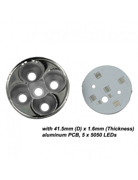51mm (D) x 18mm (H) 5 x 5050 LEDs SMO Aluminum Reflector with Aluminum LED PCB (1 pc)