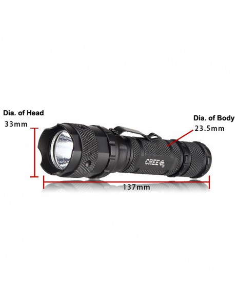Hugsby P4 Cree XP-G2 R5 250 Lumens 3-Mode LED Flashlight - Black ( 1x18650 / 2x16340 / 2xCR123 )
