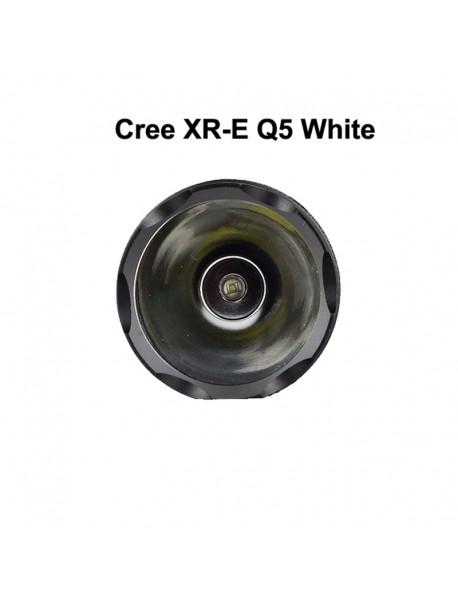 Hugsby E4 Cree XR-E Q5 330 Lumens 1-Mode LED Flashlight - Black ( 4 x D-Size / NINH )