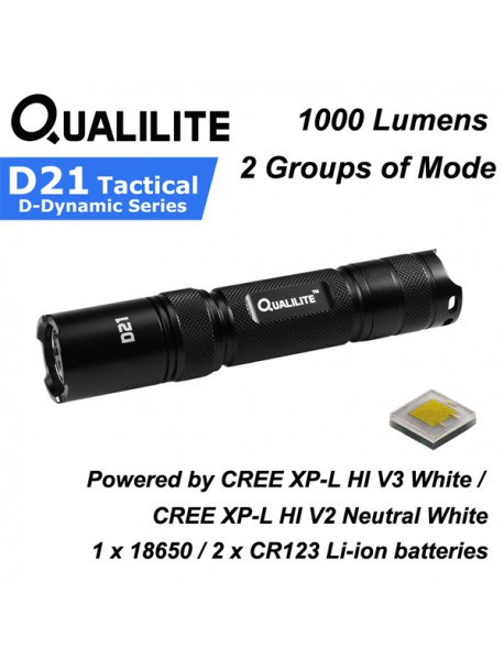 Qualilite D21 CREE XP-L HI V3 White 6500K / V2 Neutral White 4000K 1000 Lumens 2 Groups of 3 to 5-Mode LED Flashlight ( 1x18650 / 2xCR123 )