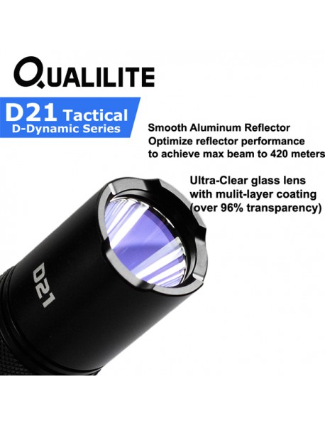 Qualilite D21 Cree XP-L HI 1000 Lumens 2 Groups of 3 to 5-Mode LED Flashlight ( 1x18650 / 2xCR123 )