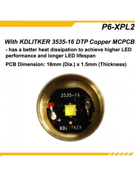 KDLITKER P6-XPL2HD Cree XP-L2 HD  1000 Lumens 3V - 9V  P60 Drop-in