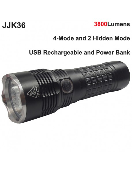 JKK36 Cree XHP70.2 LED 3800 Lumens 6-Mode SMO LED Flashlight ( 3x18650 )