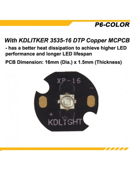 KDLITKER P6-COLOR Cree XP-E2 Blue 470nm 280 Lumens 3V - 9V 1-Mode OP P60 Drop-in