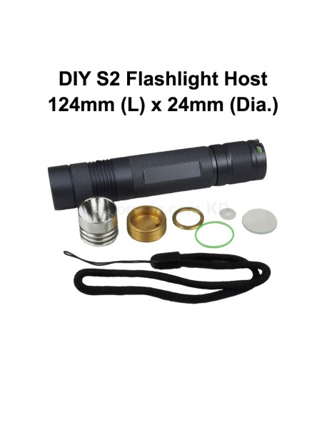 DIY S2 LED Flashlight Host 124mm(L) x 24mm(D) - Grey