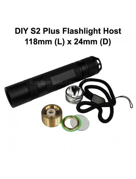 DIY S2 Plus LED Flashlight Host 118mm x 24mm - Black