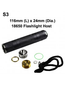 DIY S3 LED Flashlight Host 116mm x 24mm - Black