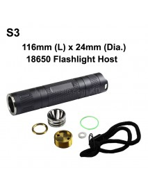 DIY S3 LED Flashlight Host 116mm x 24mm - Grey