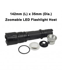 DIY Zoomable LED Flashlight Host 142mm x 35mm - Black