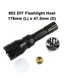 DIY 802 LED Flashlight Host 178mm x 47.5mm - Black
