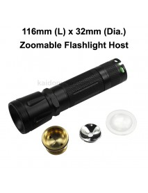 DIY Zoomable LED Flashlight Host 116mm x 32mm - Black