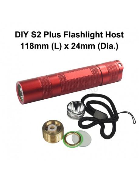 DIY S2 Plus LED Flashlight Host 118mm x 24mm - Red