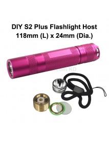 DIY S2 Plus LED Flashlight Host 118mm x 24mm - Pink