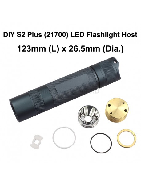 DIY S2 Plus (21700) LED Flashlight Host 123mm x 26.5mm - Grey