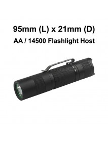 95mm (L) x 21mm (D) LED Flashlight Host - Black ( 1xAA / 1x14500 )