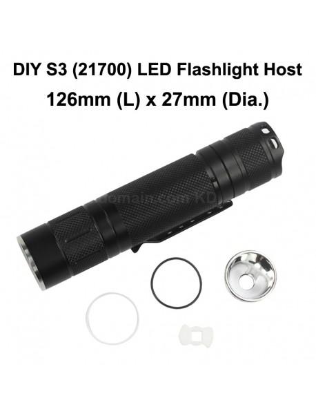 DIY S3 (21700) LED Flashlight Host 126mm x 27mm