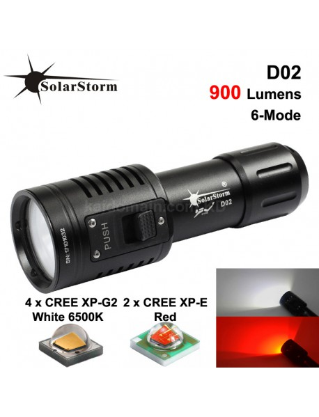 Solarstorm D02 CREE XP-G2 White and CREE XP-E2 Red 900 Lumens 6-Mode LED   Diving Video Flashlight