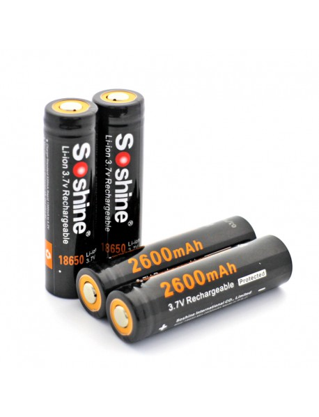 Soshine 18650P 3.7V 2600mAh Rechargeable 18650 Battery (4 pcs)