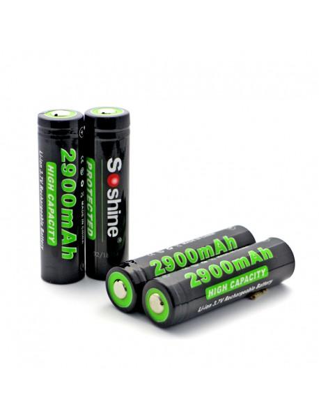 Soshine 18650P 3.7V 2900mAh Rechargeable 18650 Battery (4 pcs)