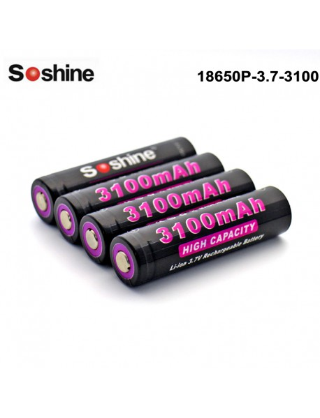Soshine 18650P 3.7V 3100mAh Rechargeable 18650 Battery (4 pcs)