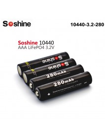 Soshine LiFePO4 10440 3.2V 280mAh Rechargeable 10440 Battery (4 pcs)