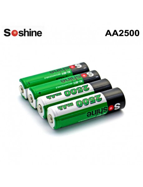 Soshine AA2500 1.2V 2500mAh Ni-MH Rechargeable AA/Mignon Battery (4 pcs)