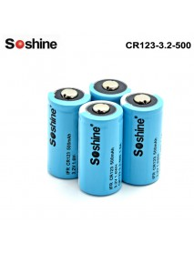Soshine LiFePO4 RCR123 3.2V 500mAh 16340  Battery (4 pcs)