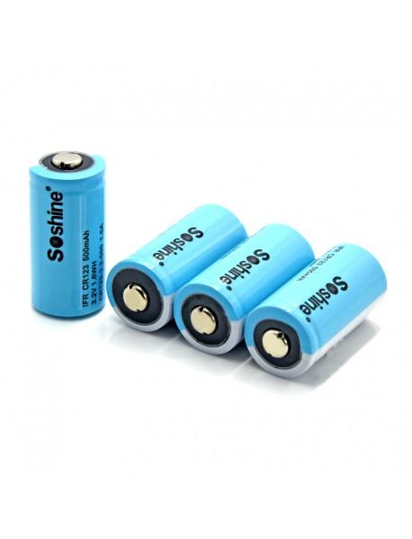 Soshine LiFePO4 RCR123 3.2V 500mAh 16340  Battery (4 pcs)