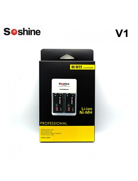 Soshine V1(Fe) 9V Li-ion Ni-MH LiFePO4 Rechargeable battery charger