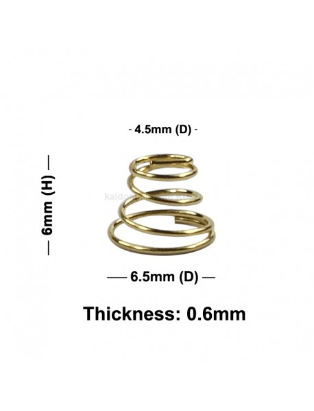 6.5mm (D) x 6mm (H) DIY Gold Plated Battery / Driver Contact Support Springs for Flashlights (5 pcs)