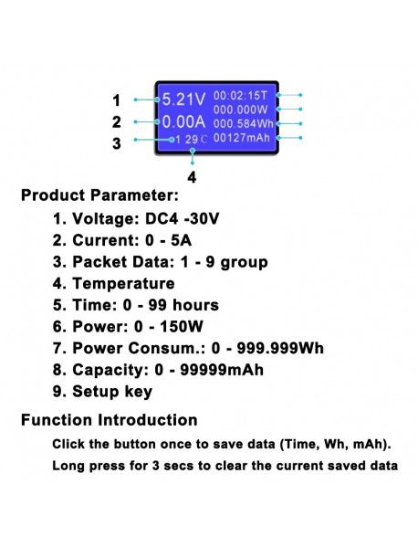 KW 8 in 1 QC2.0 3.0 4V - 30V USB Current and Voltage Meter - Black