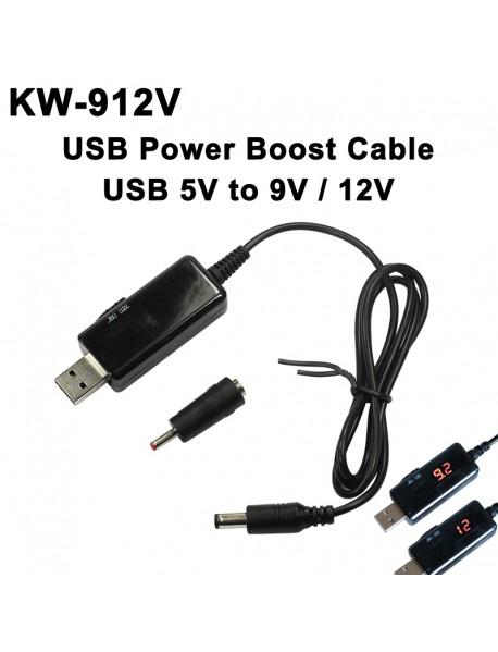 KW-912V DC-DC USB Power Boost Cable 5V to 9V / 12V