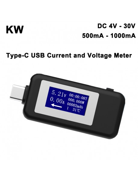 KW 4V - 30V Type C USB Current and Voltage Meter - Black