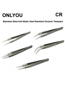 ONLYOU CR Stainless Steel Precision Straight Anti-Static Heat Resistant Ceramic Tweezers